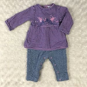 3pommes One Piece Outfit Purple Stripes Blue